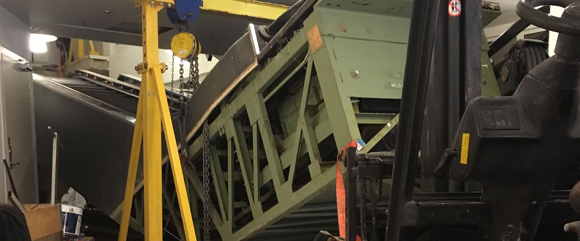 Dismantling of 2 old escalators in Helsingborg